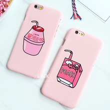 LACK Fashion Cute Milk Box Case For iphone 6S Case For iphone 6 6S Plus Cell Phone Cases Cartoon Fruit Peach Drinks Back Cover