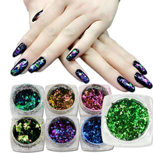 1 box Hot Sales Chameleon 3D Holographic Glitter Sequin Nail Glitter Powder Irregular Flake Starry Foils Manicure Tips CHBS01-10