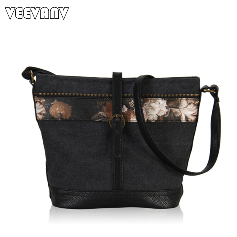 2017 Vintage Ladies Shoulder Bags Leather Messenger Bags Fashion Flower  Printing Canvas Bag Women Large Capacity