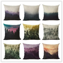 45x45 New Home Decor Cushion Cover Fashion Mist Of The Forest Home Decorative Printed Throw Pillowcase Cojines Almofadas(China)