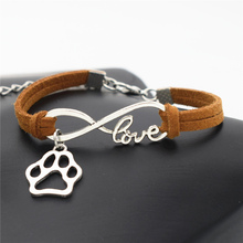 2017 Women Stylish Personalized Antique Silver Pets Dogs Lover Cat Animal Bear Paw Charms Pendant Leather Infinity Love Bracelet(China)