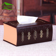 European Leather Tissue Boxes Book Shape Office Desktop Table Organizer Removable Storage Box Napkin Holder Home Decoration(China)