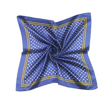 53*53CM Real 100%Silk Women's Scarf  In a small square with blue or yellow dots