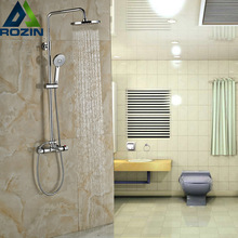 Buy Luxury Chrome Bathroom Thermostatic Shower Valve Dual Handle Bath Shower Mixer Faucet Hand Shower for $88.79 in AliExpress store