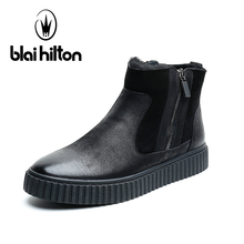 Blai Hilton New Brand 100% Genuine Leather Snow Boots Men Shoes Winter Warm Faux Fur Velvet Cow Military Motocycle Boot Male(China)