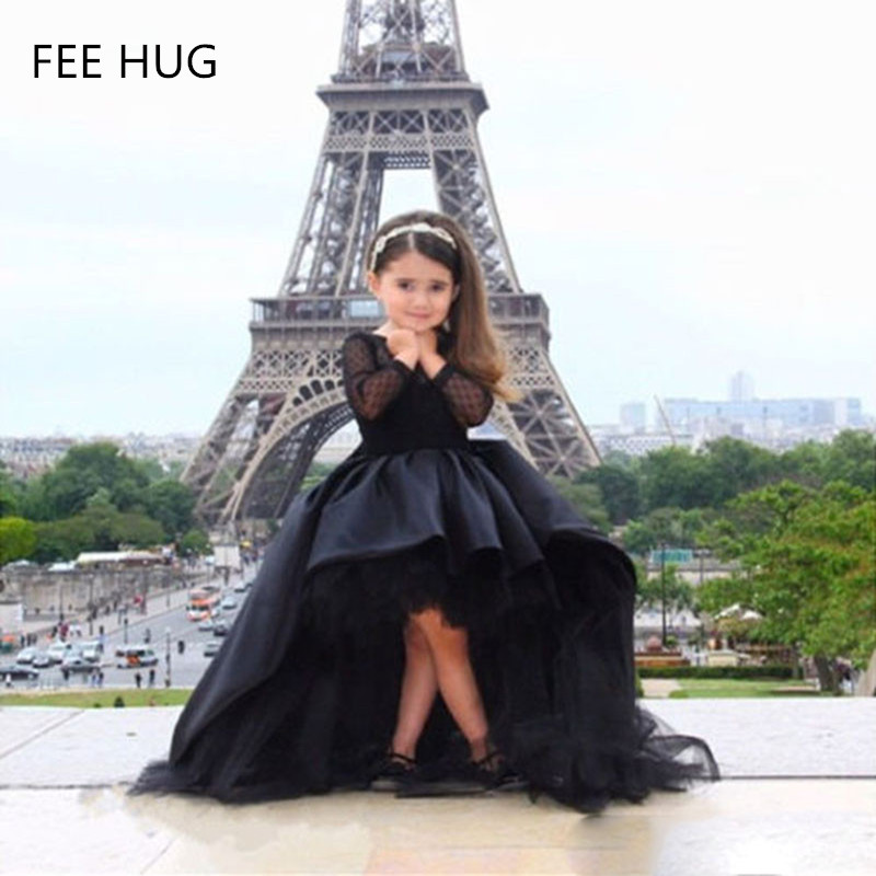 2017 Tail Girls Dress Children Girl Black Lace Wedding Dress Party Dress For Girls Toddlers Girls Clothing 2-12Y
