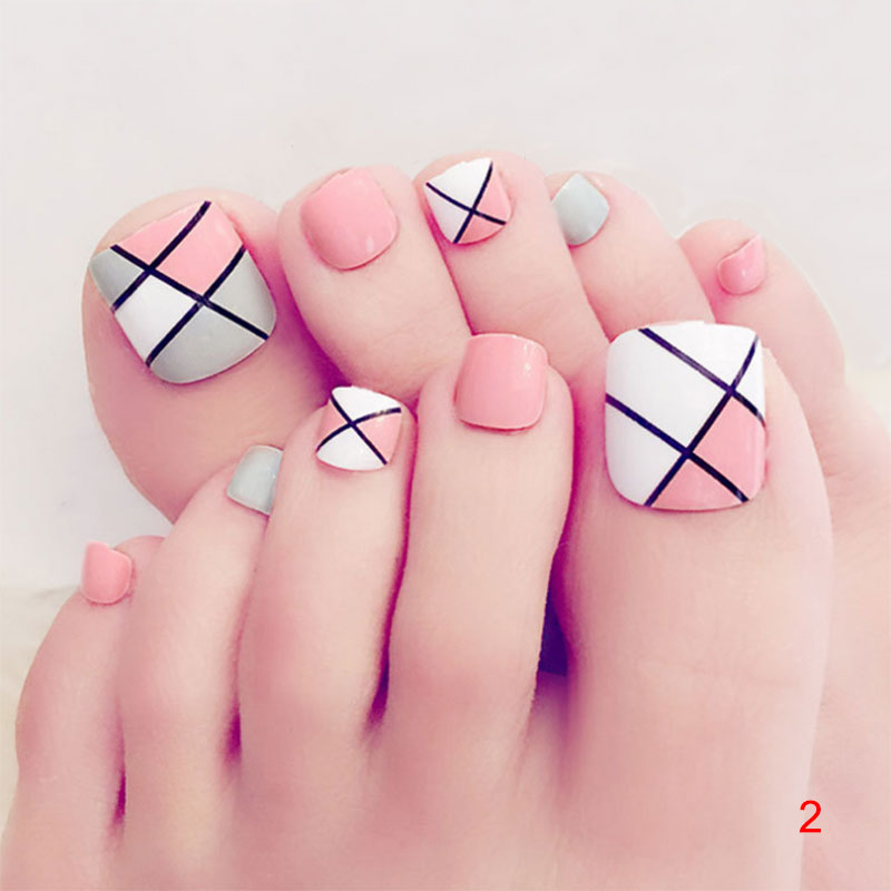 24pcs/Set Pretty Summer Toes False Nails Rhinestone Pre design Full ...
