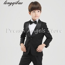 (Jackets+Pants+BowTie+Shirt) Boy Suits Flower girl Slim Fit Tuxedo Brand Fashion Bridegroon Dress Wedding black Suit Blazer(China)
