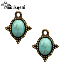 Buy 12*15mm 20pcs/lot Retro Bronze Small Oval Blue Resin Stone Drop Zinc Alloy Charms DIY Earring Necklace Jewelry Accessories for $2.64 in AliExpress store