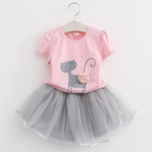 2017 New Summer Girls Clothing Sets Casual Cotton Cute Cat Short Sleeve T-shirt+Skirts Children Kids Girl Clothes 2pcs Set 2-7Y(China)