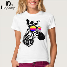 Track Ship+Vintage Retro Good Feeling women T-shirt Top Tee  Cool Zebra Listening to music,bring glasses Watch natural landscape
