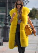 European Style Ultr-Long Natural Fox Fur Vest gilet , Brand famous celebrities Plush Yellow Genuione Fur waistcoat(China)