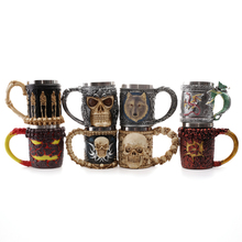 Personalized Skull Mugs Double Wall Coffee Creative Stainless Steel Knight Tankard Dragon Drinking Tea Cup Caneca Viking Gift(China)