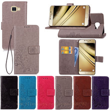 New Luxury PU Leather Flip Phone Case Cover For Samsung galaxy C5 phone shell Card Slots Wallet For Samsung C5000 phone Case Bag