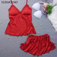 VLENATLNO Ladies Sexy Silk Satin Pajama Set Sleeveless Pyjamas Femme V-neck Sleep Set Lace Pijama Set Summer Sleepwear For Women(China)