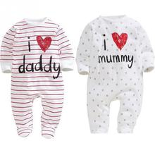 2017 Newborn Baby Clothes Long Sleeve Girl Boy Clothes I Love Daddy Mummy Cotton Baby Rompers jumpsuit toddler infant clothing