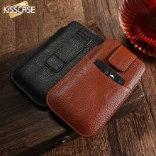 KISSCASE Universal Leather Wallet Belt Clip Pouch Phone Case For Iphone 5 5S 6 6S Plus Samsung Galaxy S7 S6 S6 Edge Plus Cover(China)