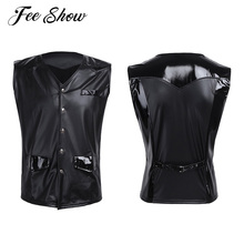 Men PU Leather Splice V-neck Patent Leather Vest with Front Snap Buttons Pockets Clubwear Sexy Mens Sleeveless Tank Tops
