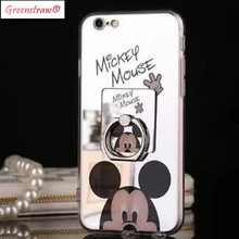 Mirror Cartoon Mickey Minnie Ring Holder Case For iPhone SE 5S Plating Soft Cases For iPhone 6s 6 7 Plus Hello Kitty Cover Coque(China)