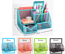 Metal Mesh Desk Organizer Desktop Pencil Holder Stand Storage Stationary For Office Home School(China)