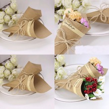 Wedding Favors Flower Cones Holder Ice Cream Style DIY Brown/Black Kraft Paper Candy Boxes gift box Party Wedding Decor 100pcs(China)