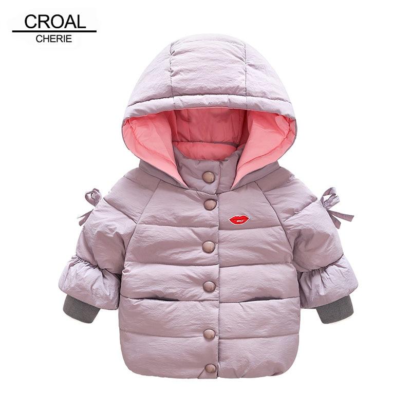 CROAL CHERIE 110-150cm Girls Winter Down Coat  Hooded Jacket With Bowknot Sleeve Fashion Lips Windproof Kids Parkas Clothing Îäåæäà è àêñåññóàðû<br><br>