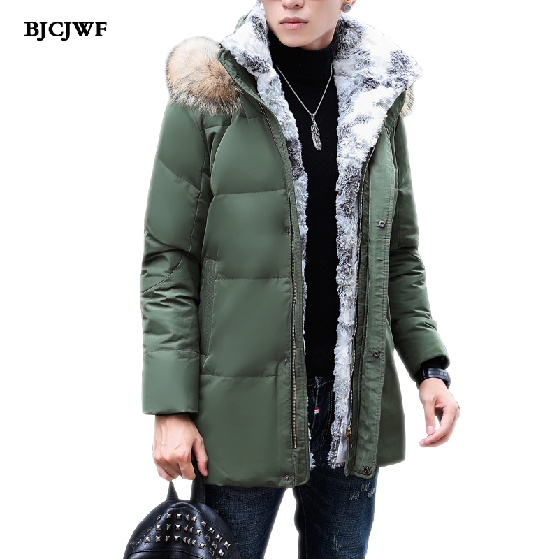 BJCJWF Men's High quality white duck down Jacket Real raccoon fur Hooded Plus Cashmere Casual Thickening warm down Parkas Coat