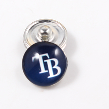Tampa Bay Rays 18mm Glass Snap Button Jewelry MLB Baseball Team Faceted Glass Snap Fit Snap Bracelet Ginger Snap Jewelry(China)