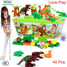 akitoo Kindergarten goods dinosaur paradise 40 Pcs capsules building blocks environmental  large particles assembled pieces toy