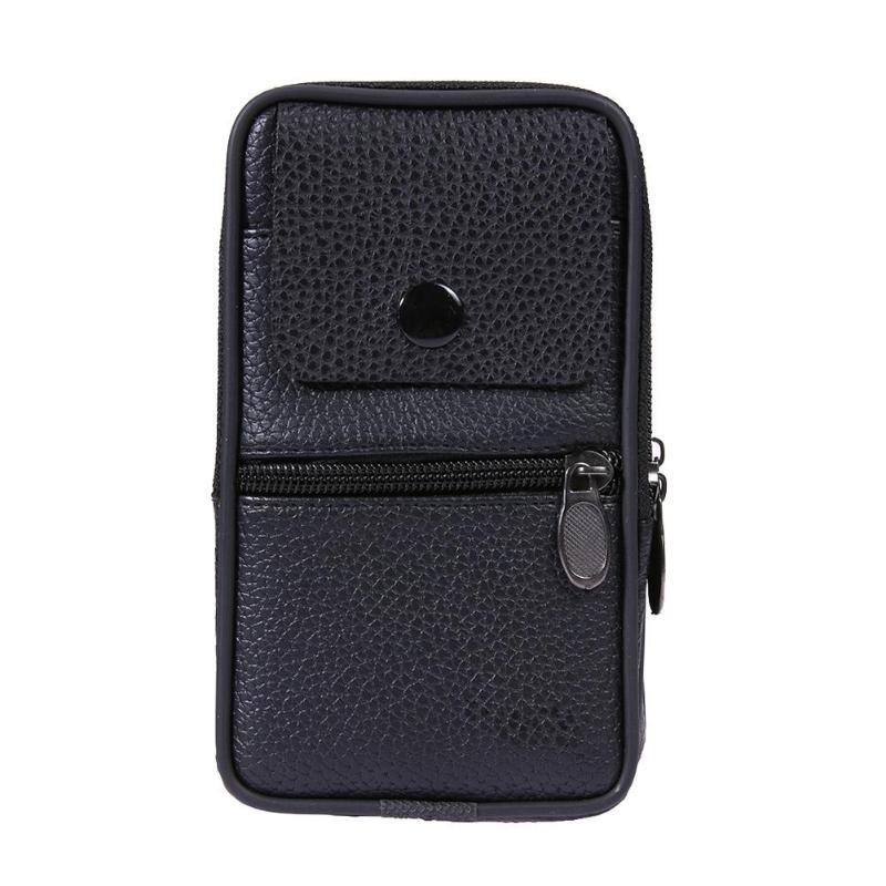 Men Business Phone Holder Bag Case PU Leather Zipper Flap Waist Pack Wallet