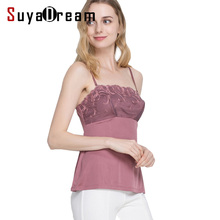 Women Lace Camis 100%Real Silk Sexy Camisole Solid Bottoming shirt 2017 Summer Vest White Black Tank Top(China)