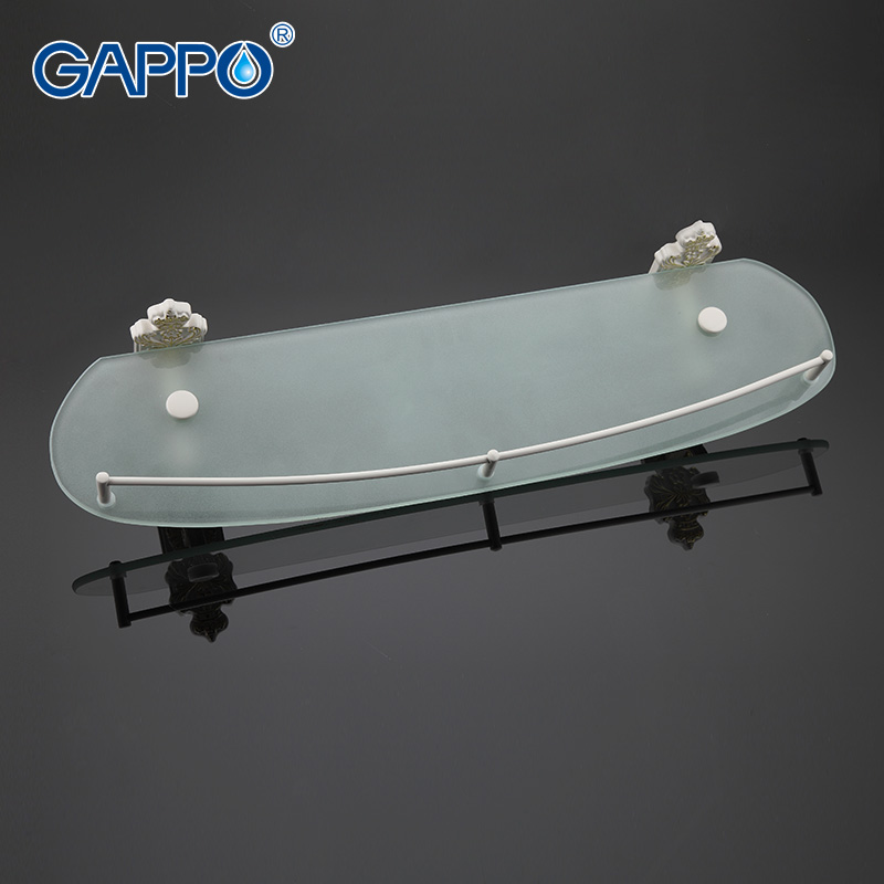 GAPPO 1Set Top Quality Wall Mounted Bathroom Shelves Bathroom Glass shelf restroom shelf Hardware Accessories in two hooks G3507<br>