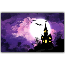 Halloween Poster Pumpkins, Black Cat, Witch's Broom Modern Cartoon Art Picture For Home Decoration Silk Poster and Prints QT062