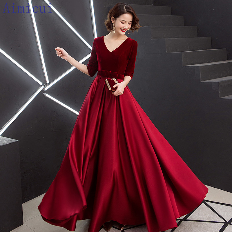Red Evening Dress V-Neck A-Line Floor Length Velour Custom Made Prom Dress Party Vestido Longo De Festa  Gowns for Women(China)