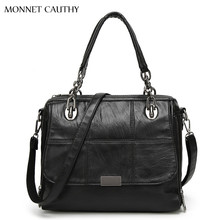 MONNET CAUTHY 2017 New Fashion Women's Bag Solid Color Black Grey Green Red Hobos Totes Concise Elegant Office Lady Handbags