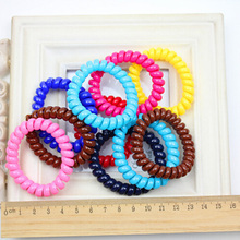 10pcs/set Women Girl Telephone Wire Style Hairband Candy Color Elastic Hair Ties Plastic Soft Hair Band Hair Accessories(China)