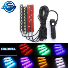 4x 9LED 12V Car styling Interior Dash Floor Foot Decoration Light Lamp Cigarette LED Atmosphere Lights Decoration Lamp droshipp(China)