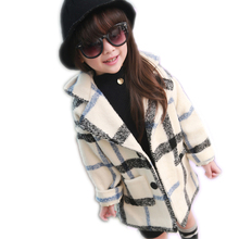 New brand designer 2017 winter girls coats and jackets baby clothes thick plaid wool jackets kids long single-breasted coat