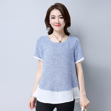 2017 Summer Large Size Simple Cotton Linen Women Tshirts Gray Blue O-neck Elegant Ladies Cool Loose Tops Mujer C1D S M L XL
