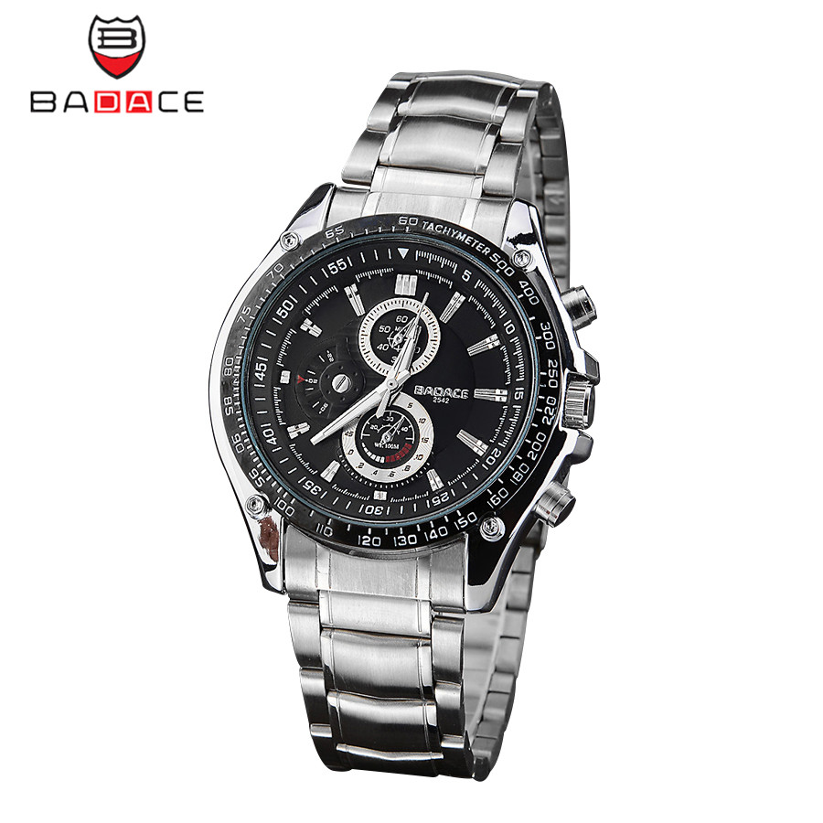 BADACE 2016 New Casual Sports Mens Watch Luxury Brand Stainless Steel Band Quartz Watch 30 Meters Waterproof Wristwatch 2542<br><br>Aliexpress