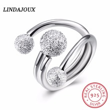 LINDAJOUX 925 Sterling Silver Jewelry Fashion Frosted Beads On The Ring Open Ladies Wedding  for Women  Ring 2017 Charm Gift