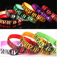 Pet Supplies Pets Dogs Cat Night Safety Collar Flashing Glow Light Up Zebra Pattern Nylon LED Collars S M L XL 7Colors Wholesale
