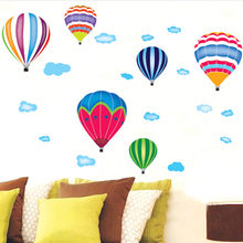 Decorative painting Rainbow Fire Balloon Vinyl Home Decor Decoration Kids Nursery Child Baby Bedroom Room DIY Mural Wall Sticker(China)