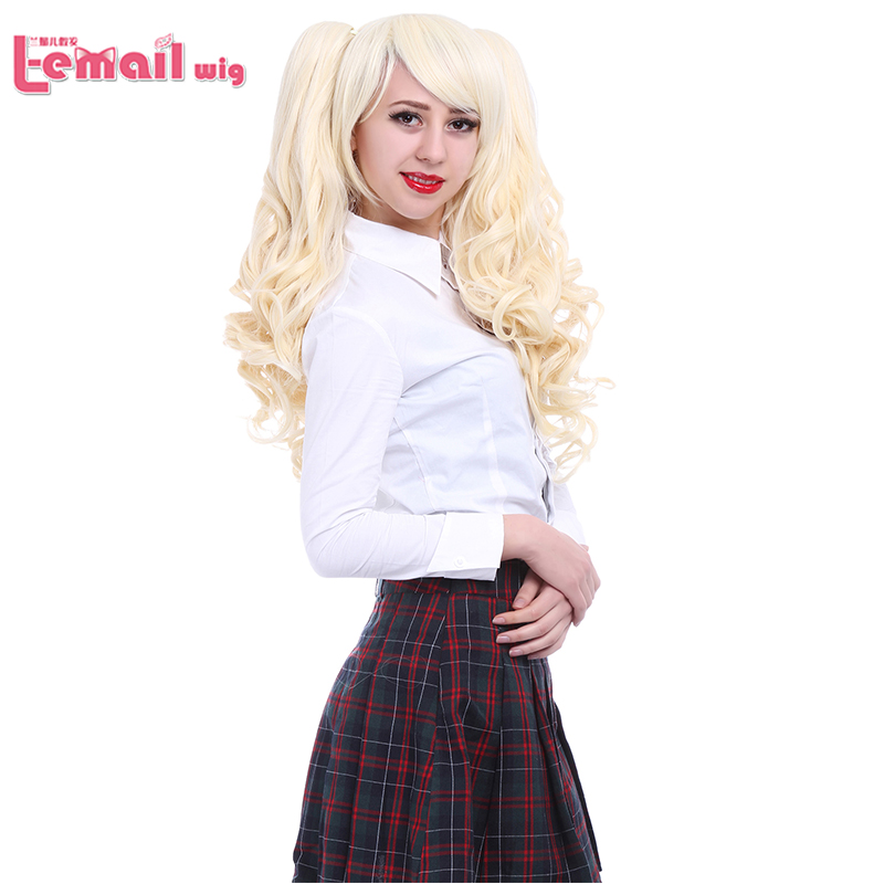Long Gloden 70cm Anime 2 Ponytails Curly Cosplay Wigs Wavy Girl Lolita Style Hair<br><br>Aliexpress