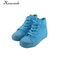 free shipping 2016 new autumn children candy color canvas shoes girls boys high top shoes baby kids casual sneakers
