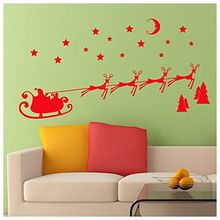 Christmas Wall Sticker Santa Sleigh and Reindeer Self Adhesive Decoration red(China)