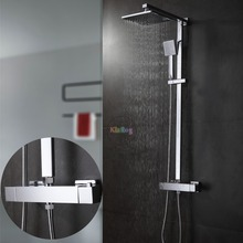 Bathroom Thermostatic Shower Set.Square Thermostatic Shower Faucet Mixer.8 Square Shower Head,Square Hand Shower.Chrome Finish(China)