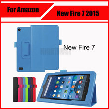 3 in 1 Luxury Litchi Pattern PU Leather Case Cover For Amazon new kindle Fire 7 2015 + Screen Protector + Stylus