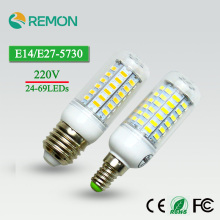 24/36/48/56/69LEDs Super  LED Corn Bulb 5730 SMD E27/E14 220V LED Lamp Bulb Superlight Chandelier LED Spot Bulb