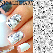 NICOLE DIARY-32 Nail Art Water Tattoo Design Manicure Flowers Water Transfer Sticker Nail Art Water Decals 25966(China)